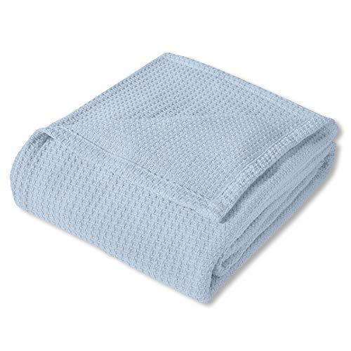 Sweet Home Collection 100% Fine Cotton Blanket Luxurious Basket Weave Stylish Design Soft and Comfortable All Season Warmth, Full/Queen, Pearl Blue