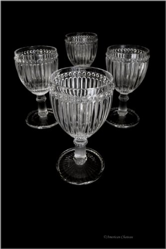 Set 4 Heavy Vintage-Style Cut Glass Footed 8 oz Clear Wine Goblets ()