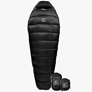 Outdoor Vitals Summit 20°F Down Sleeping Bag, 800 Fill, 3 Season, Mummy, Ultralight, Camping, Hiking (Black, Long)