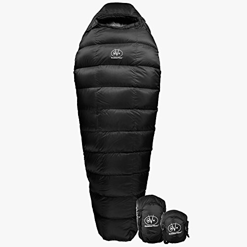 Outdoor Vitals Summit 0°F Premium Down Sleeping Bag, Certified Down, Ultralight, Compact, Free Compression Bag (Black)