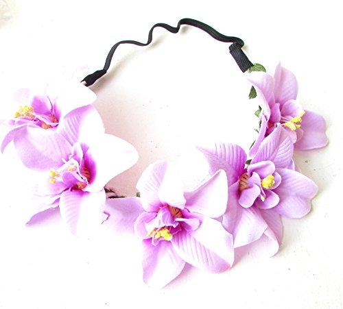 Violet clair Orchidée Guirlande de fleurs Bandeau Cheveux Couronne Boho hawaïen Beach 1684* exclusivement Vendu par Starcrossed Beauty *