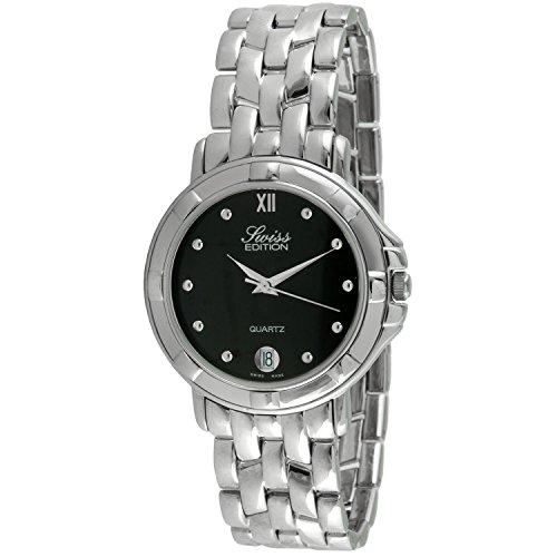 Swiss Edition Men's Round Luxury Silver Link Bracelet Black Dial Dress Watch SE3819M