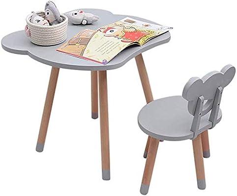 CTC Juego de mesa y silla para niños/niños, mesa de estudio/juego de madera maciza para jardín de infantes, jardín interior o exterior/Gray: Amazon.es: Bricolaje y herramientas