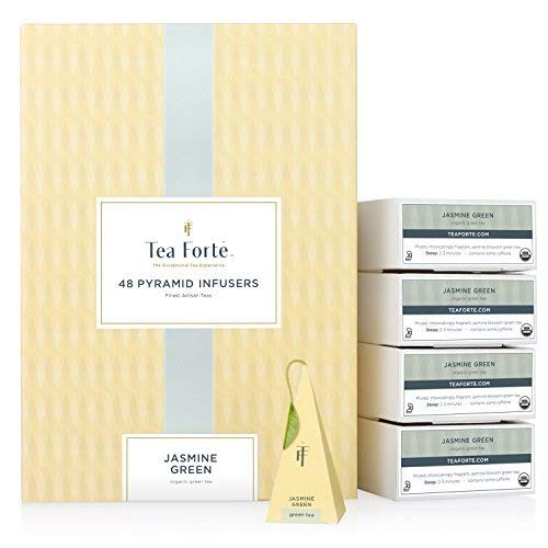 Tea Forte Jasmine Green EVENT BOX Bulk Pack, 48 Handcrafted Green Tea Pyramid Infuser Bags by Tea Forte
