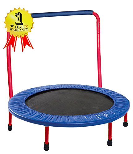 GYMENIST Safe KIDS TRAMPOLINE Portable & Foldable - 36 Inch. Durable Construction with Padded Frame Cover and Handle Bar - Red