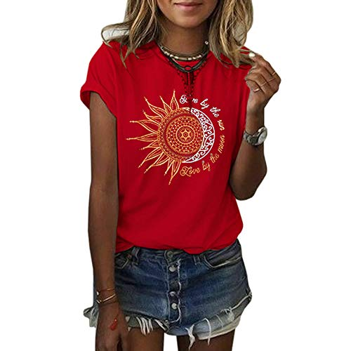 MaQiYa Womens Graphic Tees Summer Vintage Short Sleeve Cotton Moon and Sun Printed T Shirts Tops (Light Green, Small)