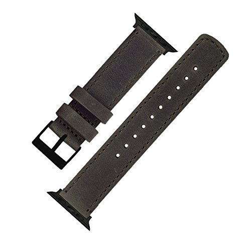 BARTON Leather Watch Bands for Apple Watch - Black Hardware for 42mm & 38mm -Espresso Leather & Stitching by Barton Watch Bands (Image #3)