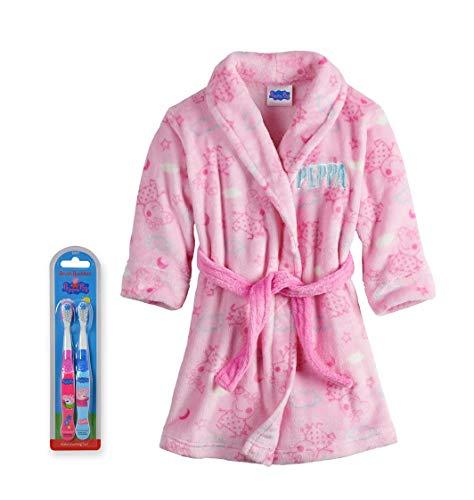 Peppa Pig Little Girls Plush Bathrobe Robe Pajamas, Toddler Sizes 2T-4T, Peppa Pink with Toothbrush, Size 5T (Toothbrush Kids Jr)