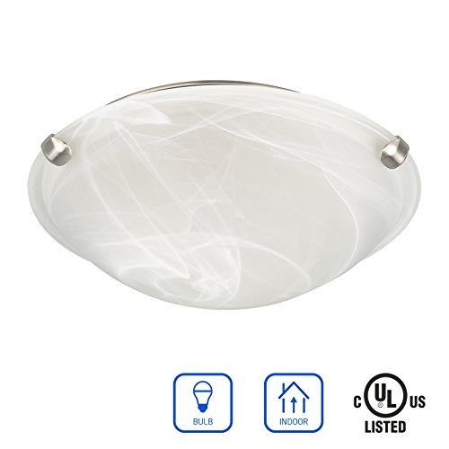 IN HOME 2-Lights 12 Inch Diameter Glass Flush Mount Fixture with clips FM02 Series, 2 x E26 60 Watt Socket, Brushed Nickel Finish with Alabaster Glass Shade, UL (Alabaster Glass Finish)