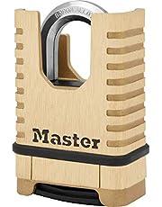 Master Lock Heavy Duty-hangslot van massief messing [Gesloten Beugel][Combinatieslot] M1177EURD - Antiroest, Ultra-resistent en Waterdicht