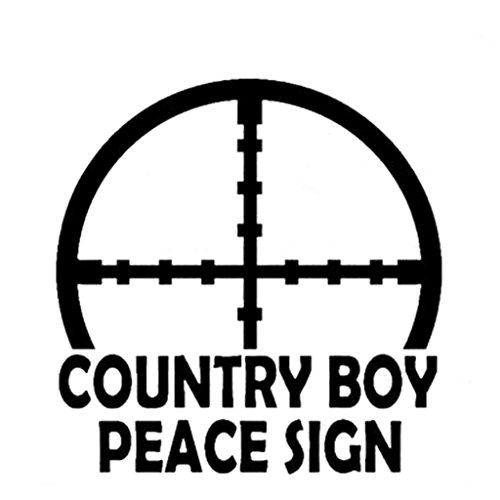 Country Boy Peace Sign Decal Vinyl Sticker|Cars Trucks Vans Walls Laptop| WHITE |5.5 x 5.5 in|CCI524