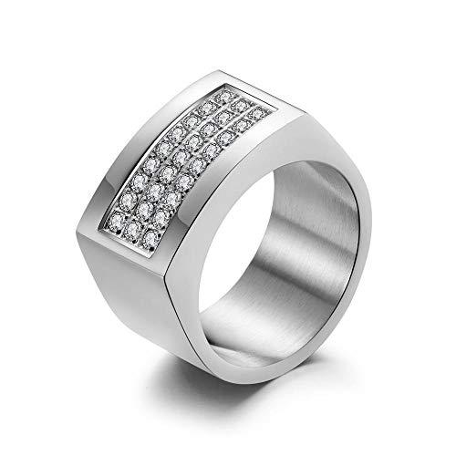 Daeou Open Ring Men's Rings Titanium Steel Three-Row pavé-Set Diamond Ring ()