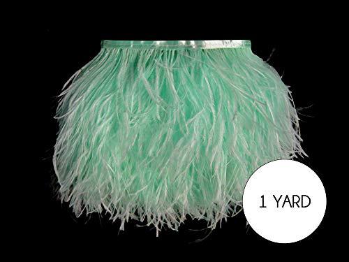 Moonlight Feather | 1 Yard - Mint Green Ostrich Fringe Trim Wholesale Feather (Bulk) Halloween Prom Wedding Costume Craft ()