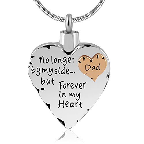 1 Mom Heart Locket - Eternally Loved Unisex No Longer by My Side But Forever in My Heart Dad&Mom Cremation Ashes Urn Pendant Necklace (Dad)