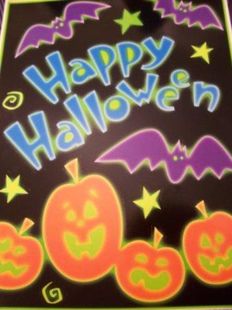 Halloween Window Cling ~ Neon Happy Halloween, Pumpkins,