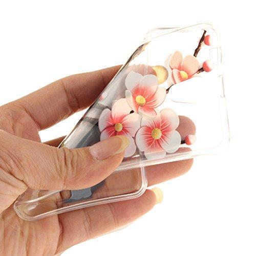 Caja Transparente de Lenovo A319, MAGQI Flexible y Durable del gel de TPU a Prueba de Choques [Anti-Rasguñe] Tope de la Absorción y, [Pluma Negra Libre de la Aguja]-Árbol grande Plum Tree