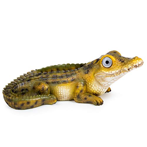 Alligator Garden Planter | Patio Statue Decor - Yard Figurines | Outdoor Solar Lawn Decorations for Balcony, Deck and Pond | Weather Resistant LED | Cute Present | Auto On/Off ()