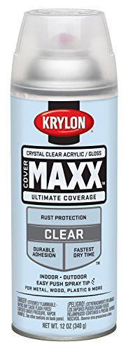 Krylon K09116000 COVERMAXX Spray Paint, Gloss Crystal Clear Acrylic, 12 Ounce