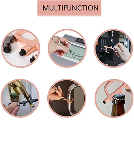 Door Opener, Multifunctional Door Opener Hand Tool Keychain Tool, Door Opener Button Pusher Smart Key Tool and Stylus Supports Hands, Serves as Bottle Opener and Stylus - Key Ring Included