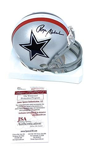 - Roger Staubach Dallas Cowboys Signed Autograph Throwback Mini Helmet JSA Witnessed Certified