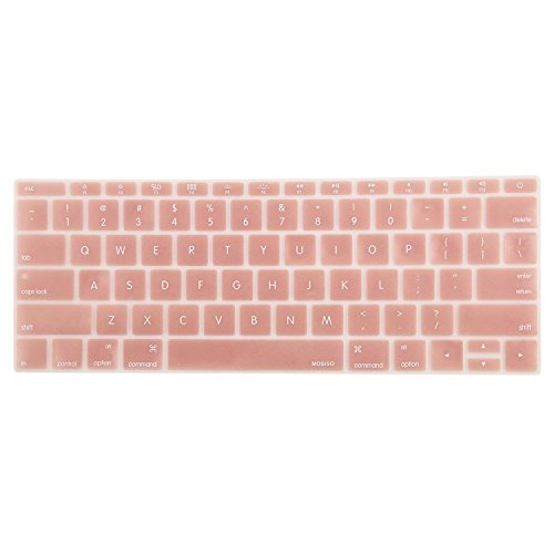 Mosiso Protective Keyboard Skin for Macbook 12 Inch with Retina Display A1534, Rose Gold