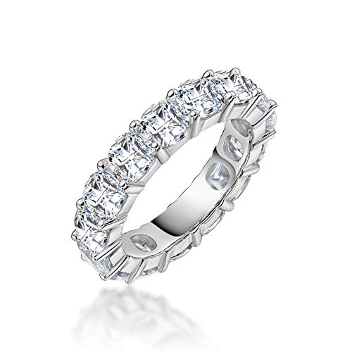 Erllo 4x4mm Cushion Cut 925 Sterling Silver Cubic Zirconia Fashion Ring Eternity Engagement Wedding Band (7.5)