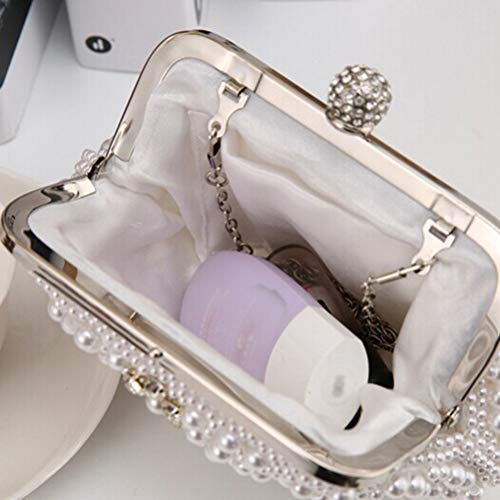 Banquet Elegant Wedding Pearl Evening Party White Women FENICAL Handbag Clutches Bags Ladies Bag 0OvqR
