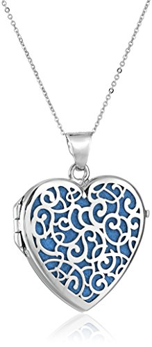 Sterling Silver Italian Blue Heart Locket with Freeform Design Pendant Necklace, 18