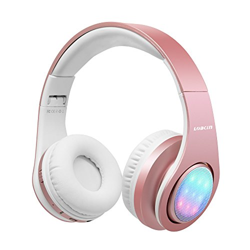 (LOBKIN Bluetooth Headphones, Stereo Music LED Light Up Foldable Wireless Headphones Over Ear HiFi headsets with TF Crad Slot, Mic and FM for All Bluetooth Enabled Devices (Rose Gold))