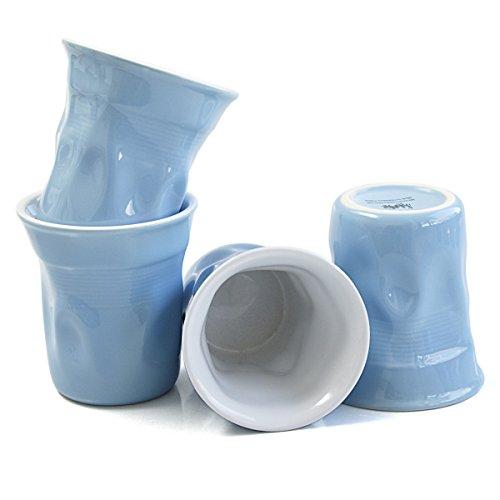 Streamline Blue Porcelain Crinkle 8 Ounce Mug, Set of 4 (Crinkle Cup)