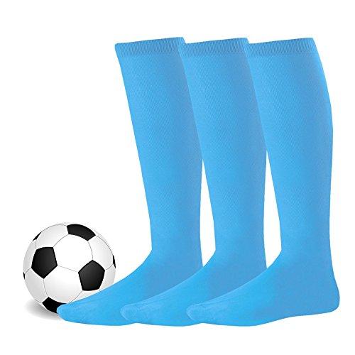 Soxnet Soccer Sports Team 3-pair Cushion Socks-Turquoise, Junior (7-9)