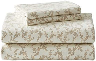 Amazon Com Laura Ashley Home Flannel Collection Cotton Bedding Sheet Set Pre Shrunk Brushed For Extra Softness Comfort And Cozy Feel Full Victoria Beige Home Kitchen