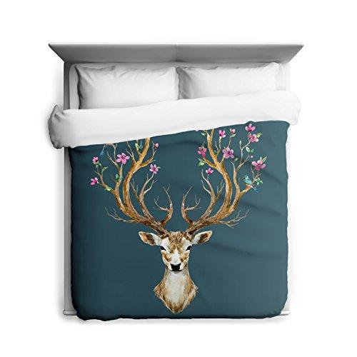 Deer Blossoms Floral Bedding Woodland Animals Duvet Cover...