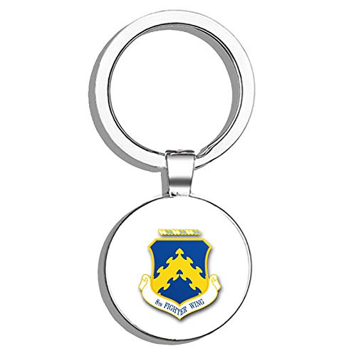 HJ Media US Air Force 8th Fighter Wing Military Veteran USA Pride Served Metal Round Metal Key Chain Keychain Key Ring