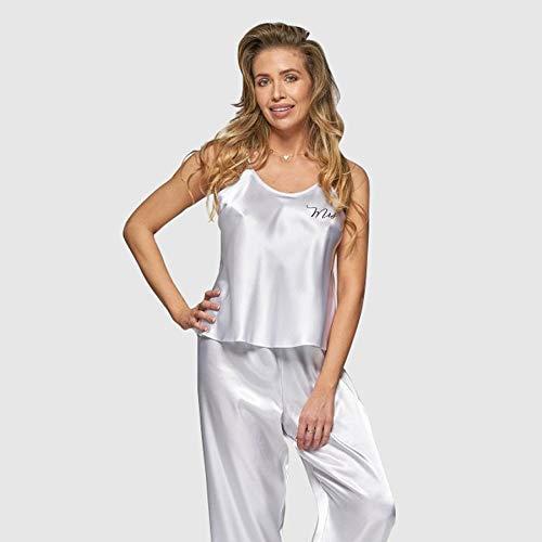 Ladies Plain White Bridal Satin Cami Set Shorts PJs Pyjamas Set
