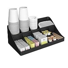 "Mind Reader COMORG-BLK ""Breakroom Organizer"" 11 Compartment Condiment Holder, Black"