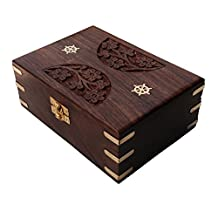 Floral Pattern Brass Engraved Rectangular Handcarved Wooden Jewellery Box