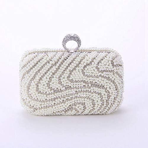 フラワーハンドバッグ、クラッチバッグ、レディースアイビーズ刺繍入りイブニングバッグ、17 * 11 * 6.5 Cm(カラー:シルバー) 美しいファッション (Color : Silver)