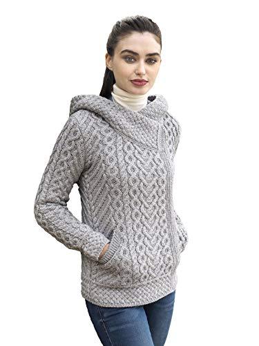 Aran Crafts Wool Zip Hoodie - 100% Merino Wool XXL Soft Grey (HD4916-XXL-SGRY)