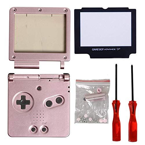 Timorn Full Parts Housing Shell Pack Replacement for Nintendo GBA SP Gameboy Advance SP (Pink Pack)