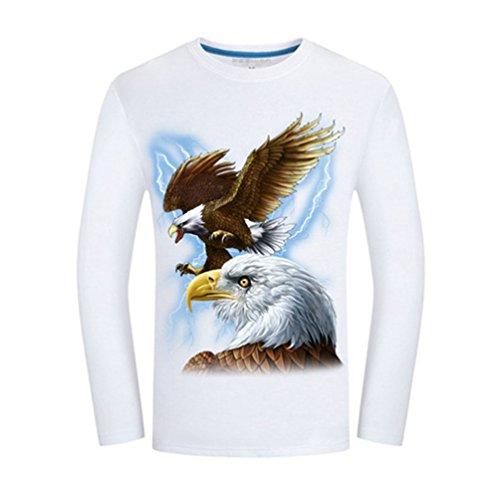 shirt Niseng Sciolto Tampa Di Stampa T Tigre Animali Casual Collo 3d Rotondo Maniche Uomo Lunghe Maglietta Fybianco wF8rxZw