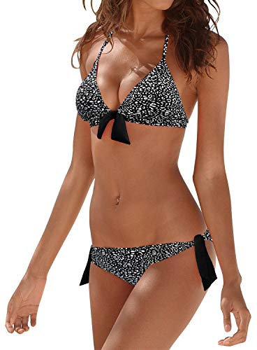 Upopby Women's Sexy Triangle Halter Bikini Set Push Up Two Piecee Swimsuits Padded Swimwear Bathing Suits Leopard Printed L