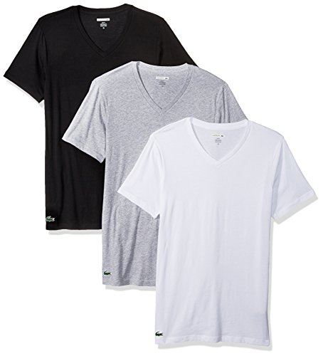 Lacoste Men's 3PK Supima Cotton Slim FIT Vneck TEE, Black/Gry/White, ()