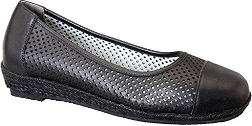 (David Tate Women's Nadine Perforated Espadrille, Black Calf, Size 9.0)