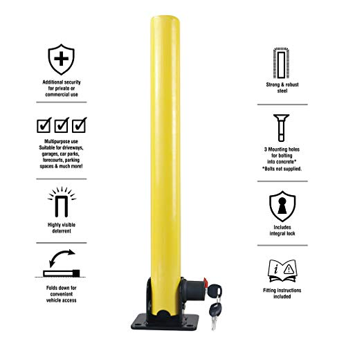 Oklead Folding Parking Lock - 2 pcs Parking Post Fold Down Post Barrier Steel Security Park Sign for Home Driveways Reserved Flexible by Oklead (Image #2)