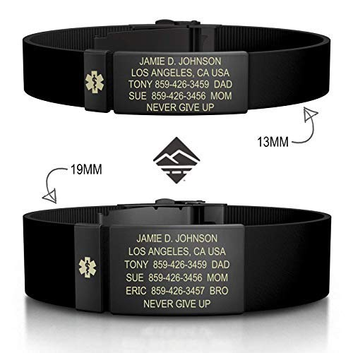 - Road ID Personalized Medical ID Bracelet - Official ID Wristband with Medical Alert Badge - Silicone Clasp
