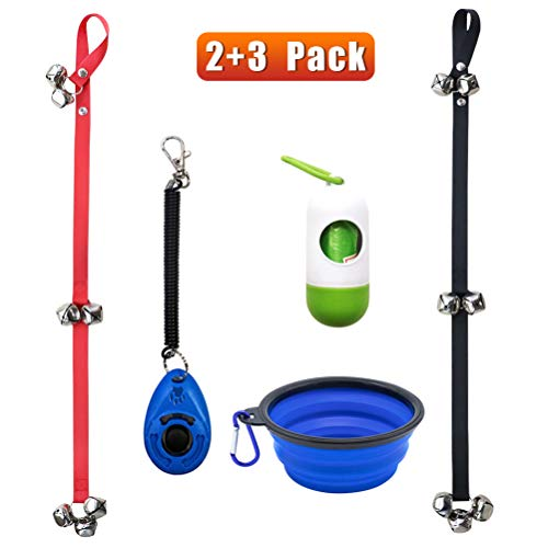 TAKEBEST Dog Training Bells for Door, Set of 2 Adjustable Puppy Bell for  Potty Training, Dog Doorbell with Collapsible Travel Pet Cat Dog Bowl &