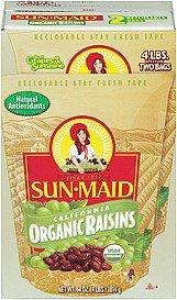 SCS Sun Maid California Organic Raisins - 4 Lbs Split in 2 Bags by Sun Maid