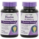 Natrol Biotin 10,000mcg, Maximum Strength, 100 Tablets [Kitchen] (200 tablets)
