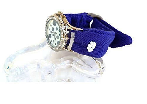 Women's Bead Embroidered Blue Fabric Bracelet Polka Dot Faced Cuff Watch with Rhinestones Oak Jewelry
